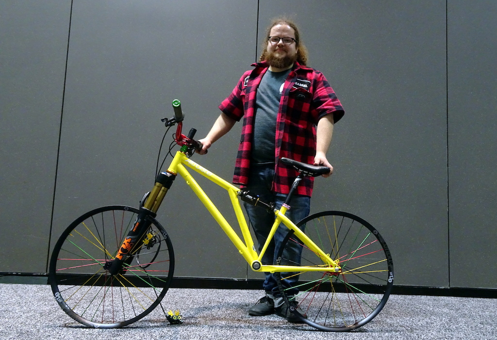 NAHBS 2018 Altruiste Founder and builder Gabriel Lang poses with his chromoly Zyteco dirt jump bike. Weather delays had Lang and many others scrambling to assemble bikes on opening day.