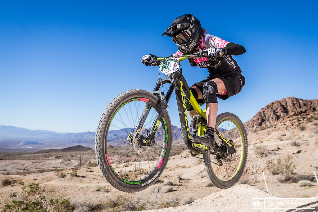 Fastest female bragging rights at the Mob n Mojave Enduro went to Christine Johny Ringo Eikmeier DVO Michael David Winery with a total time of 27 18.998.