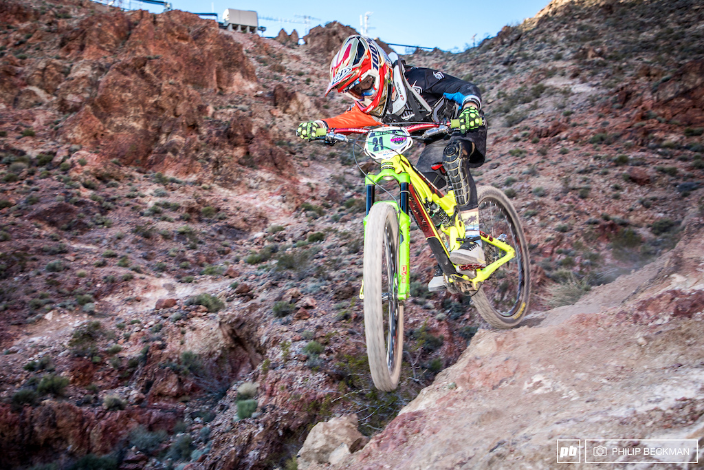 Parts of Bootleg Canyon could easily be mistaken for the planet Mars. Eddie Reynolds Chainline Bikes explores the surface on the way to the Junior Men 11-12 victory .