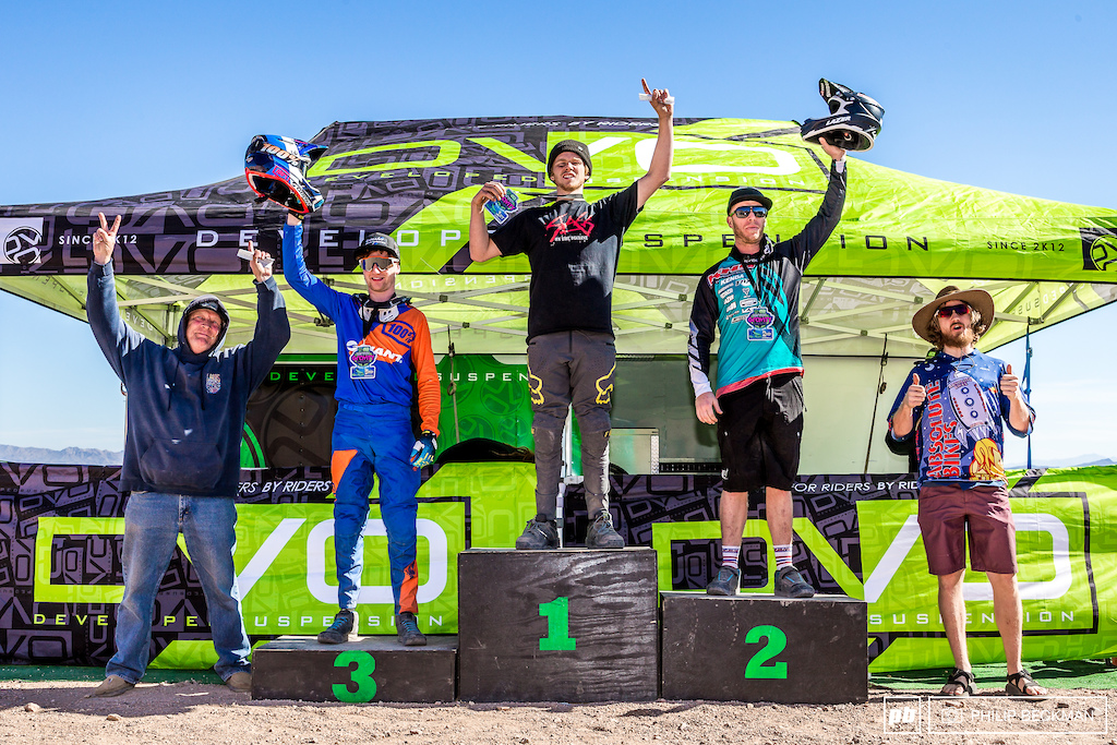 Liam Smillie Slag Society Novatec enjoys his first view from the top of the Pro Men s DH podium. He s joined by Logan Binggeli KHS Factory Racing Jacob Dickson Giant Factory Off-Road Scott Gladu Absolute Bikes and Jerry Walton standing in for son Steven Commencal .