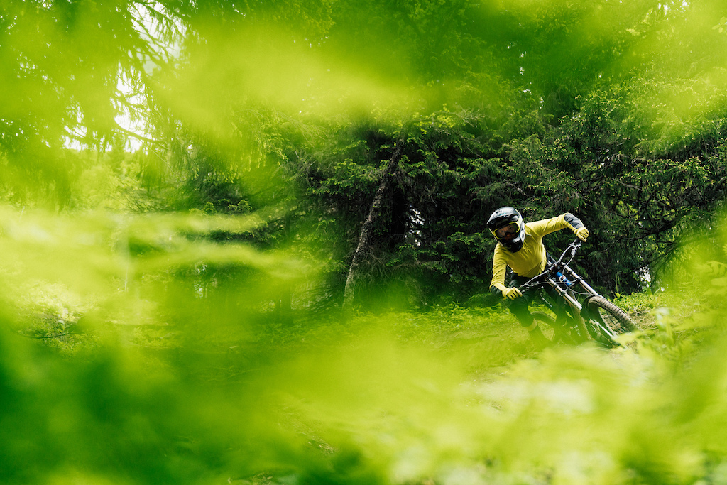 """""""I didn't know there was this much green in the whole galaxy...""""  Lina Skoglund the master showing how to shred berms in Downhillbanan, Åre."""
