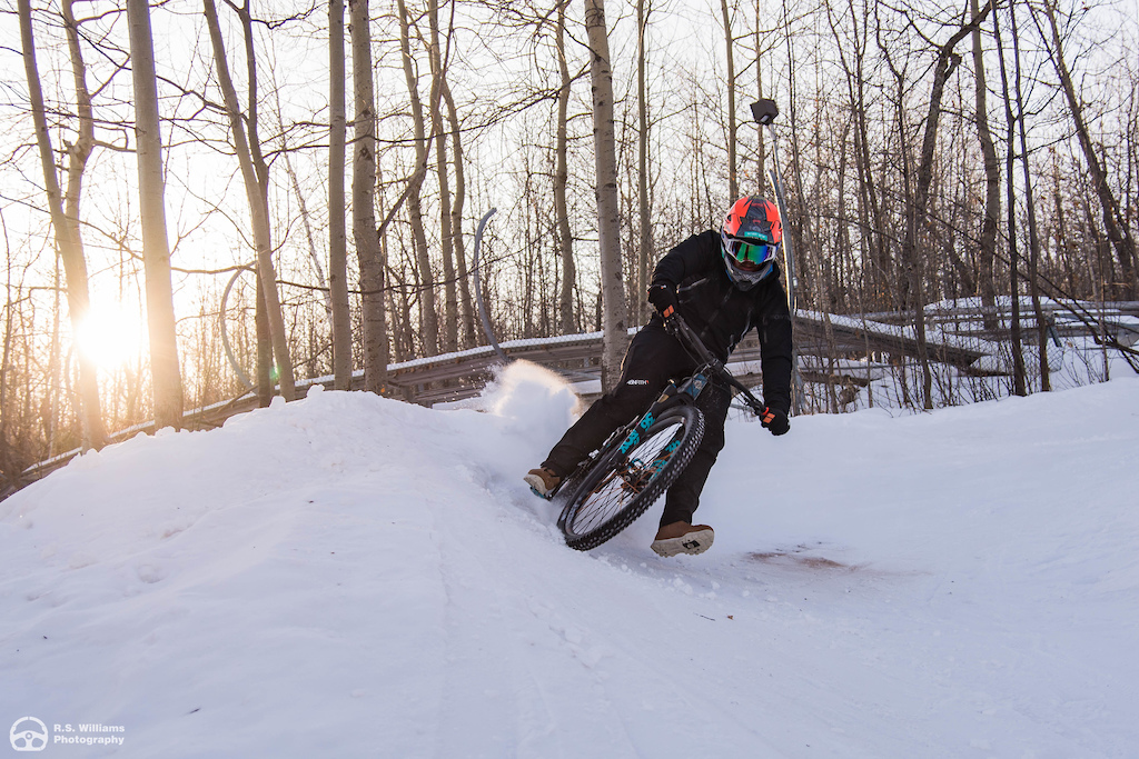 Blowing up iced over berms on the downhill track