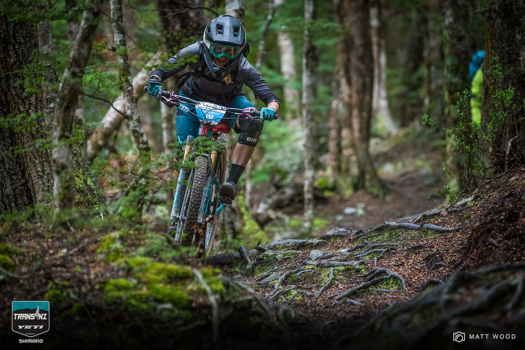 Sarah Rawley Golden USA rides by day and writes by night all week long at the Yeti Trans NZ. By the end of the week she sang aloud how much she loves wet roots all the way down Stage 3.