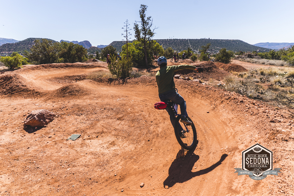 Nick Smolinske of Rogue Panda Designs shows off some unicycle skills at the pump track.