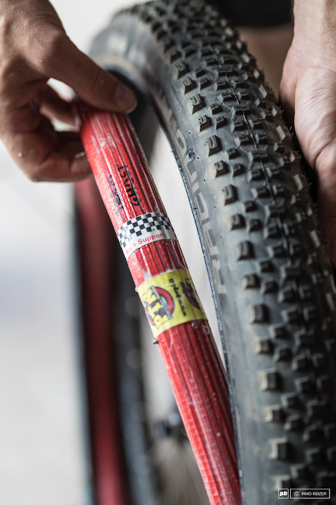 Ghost riders are experimenting with a new ultralight tyre insert the Pepi tire noodle. It allows the rider to run at 0.3 bars lower pressure on average improving grip and allowing a lighter rolling tire to be mounted.