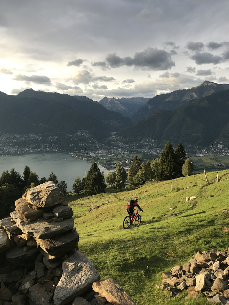 KC making his way down towards Ascona Locarno on the carbon trail. Photo Mason Mashon