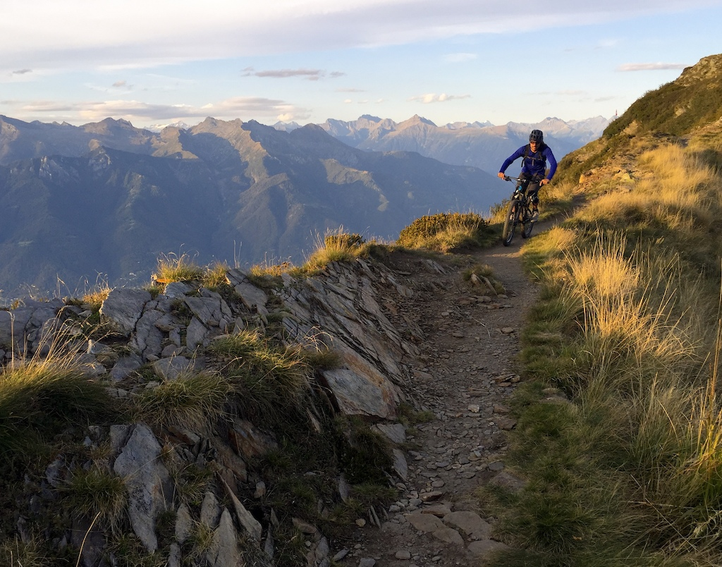 Mason making his way back to the hut on top of Mount Tamaro overlooking Ascona Locarno. Photo KC Deane