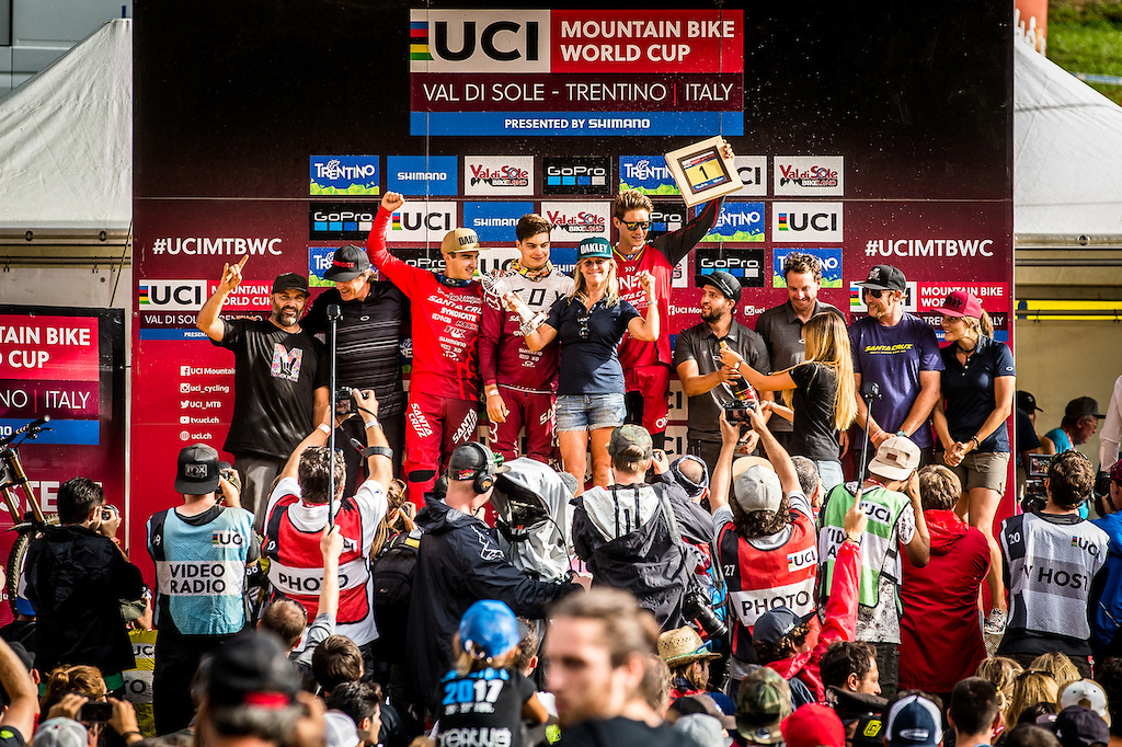 The Syndicate celebrates on the podium at Val Di Sole Italy Photo Syndicate