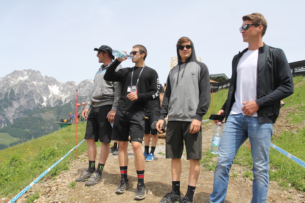 Steve Peat Luca Shaw Loris Vergier and Greg Minnaar walk the Leogang UCI World Cup DH course Photo Kathy Sessler