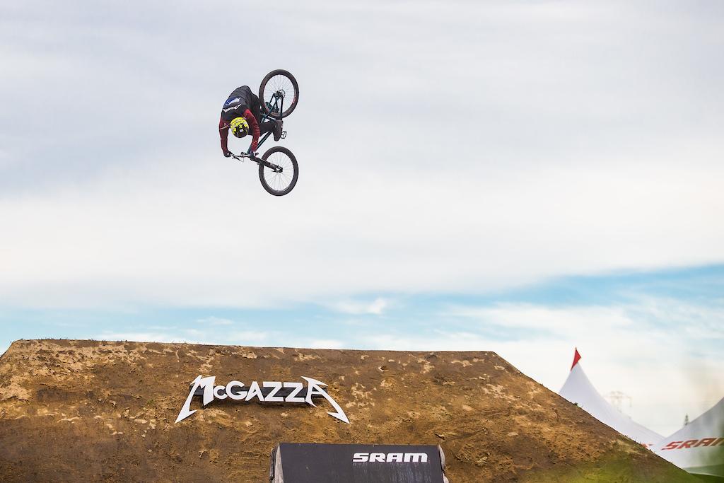 Action from the slopestyle event at Crankworx. Credit Fraser Britton Crankworx