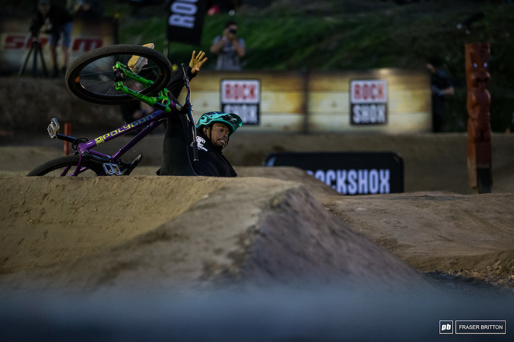 Cody Johnson goes down in the Bermuda triangle, a section of the course that took out more than a few riders.