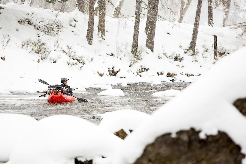 Joe Flanagan using Caribou packraft for the packrafting portion of the 2nd Braemar Mountain Festival Scotland March 1-4 2-18. Photo by Sam Flanagan.