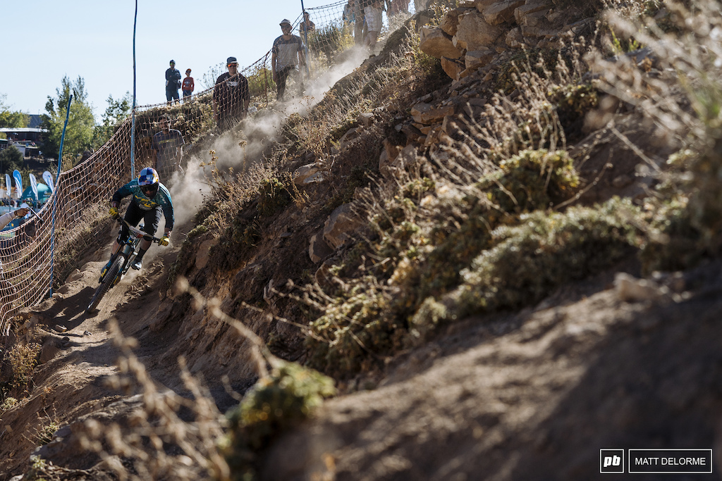 Out to prove he's still the fastest. Richie Rude punishing the trails on day one.