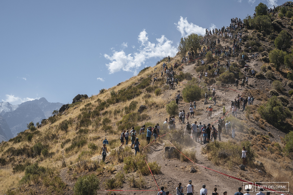 Big crowds lined the rocky steeps at the end of stage two.