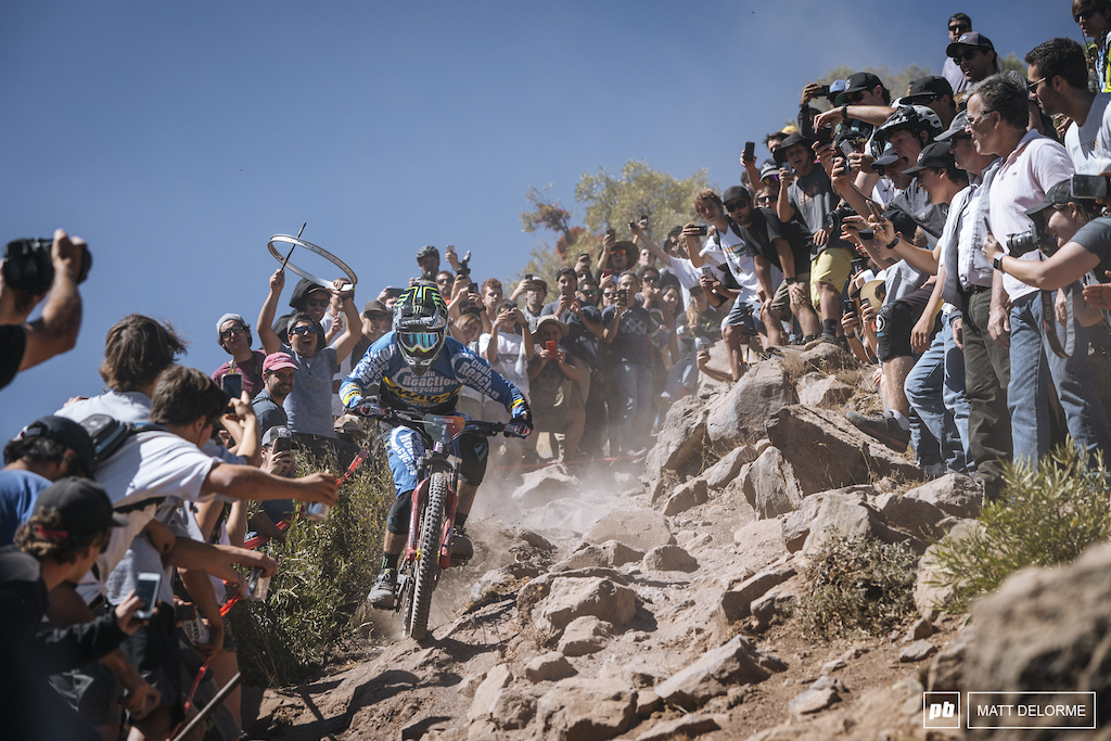 Sam Hill crushing the rocky steeps of stage two. Hill won stage two, and sits in the overall lead.