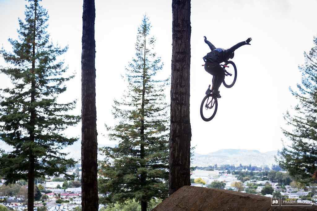 Rogatkin with a tuck no hander in early practice.