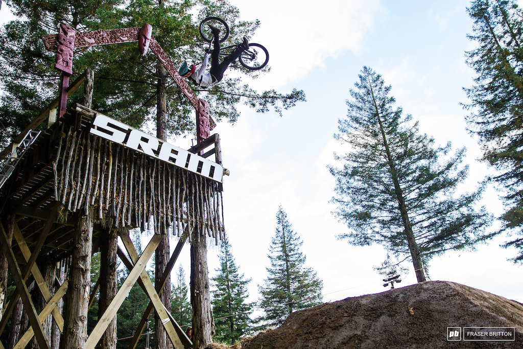 Brett Rheeder with a one foot can backflip off of the SRAM drop.