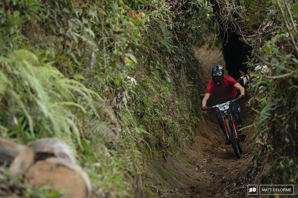 """Adrien Dailly moving at warp speed through the slick as snot """"Death Tunnel""""."""
