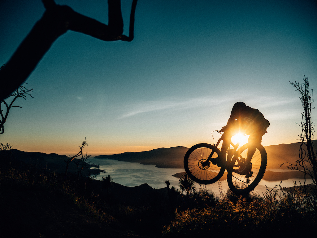 Ben catching the first light while shooting for our upcoming film - THE GC - http://www.theperfectline.co.nz/canterbury-mountain-bike-film/