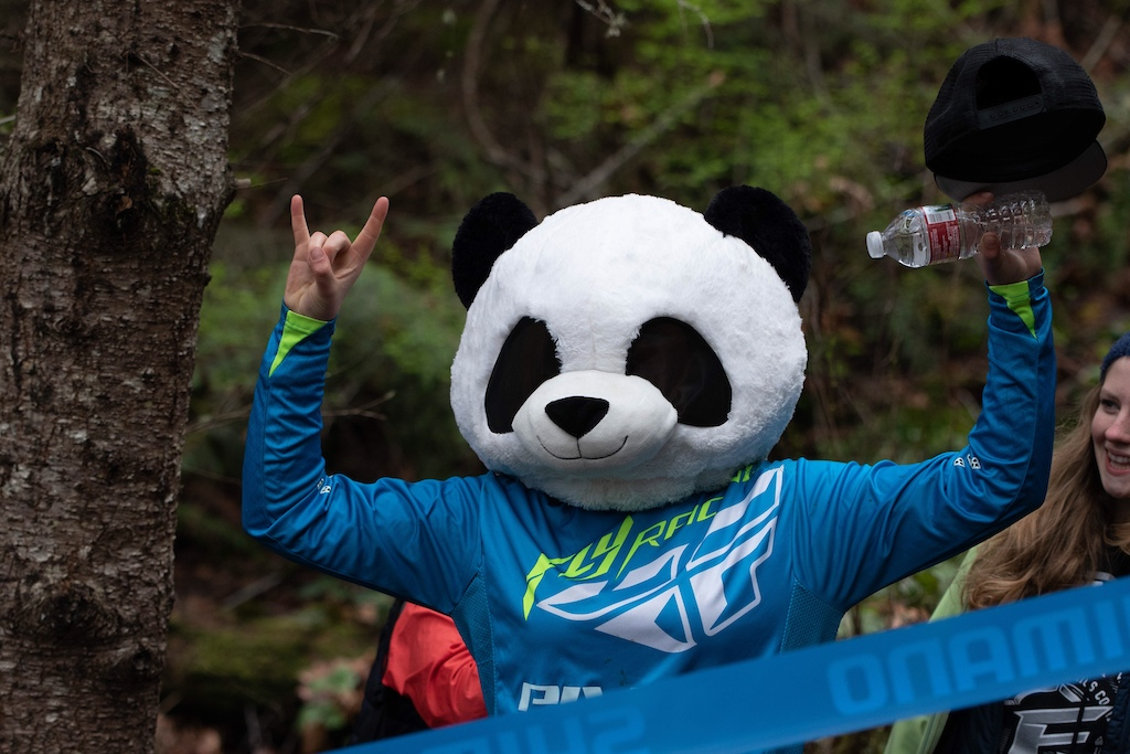 Brynn Bassett couldn t resist bringing out the panda head to heckle the pro men during their race runs.