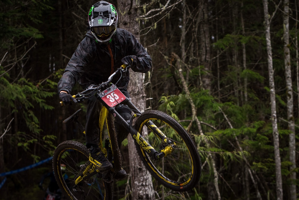 Pro rider Dylan brown clears the road gap at the top of Queen Diamond during practice on Friday. Pro Men