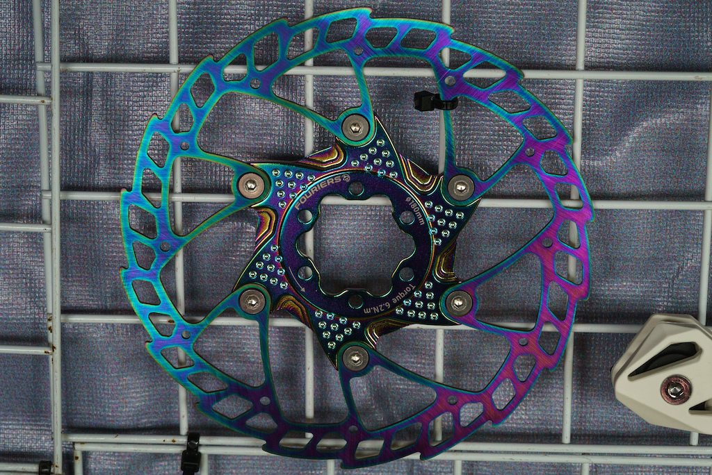 Anodized titanium rotors from Fouriers.