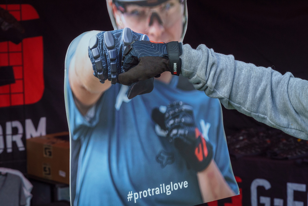 G-Form has brand new Pro Trail gloves that use the same Reactive Protective Technology as their pads do on the knuckles. Give the poster at their booth a first pump use hashtag protrailglove and you could win a pair