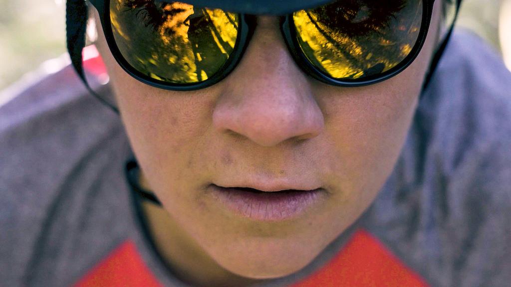 Rachel Rageau testing Julbo's new Resist sunglasses test on her home turf Sentiers du Moulin, Lac-Beauport, Quebec.