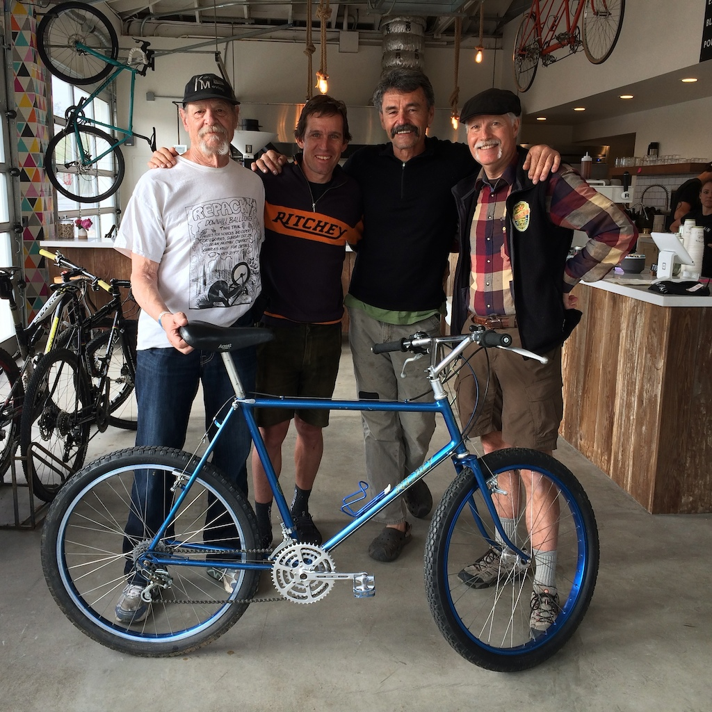 Ritchey MountainBike #4, owned by Thomas Frischknecht, shown at Captain and Stoker coffee house in Monterey