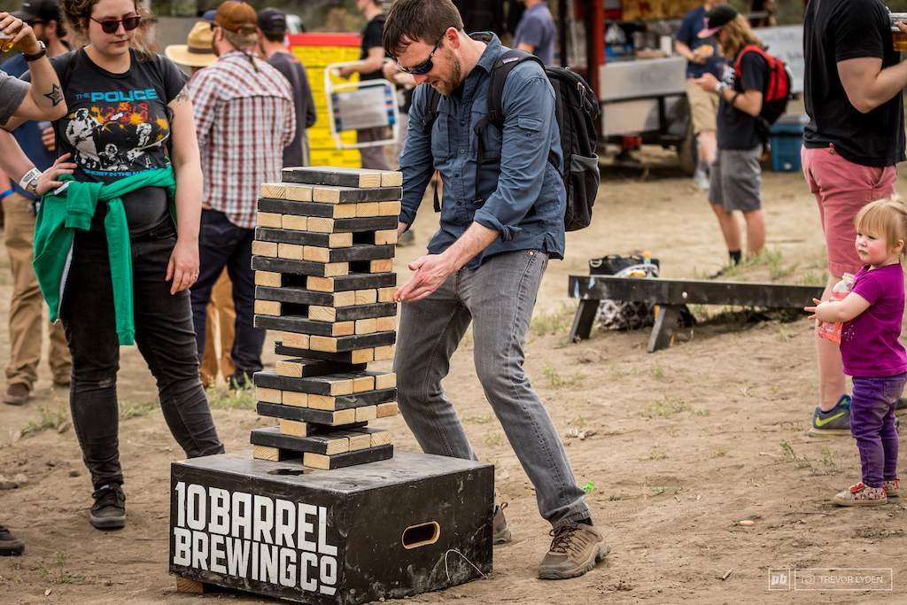 Giant jenga is always a crowd pleaser at 10 Barrel events.