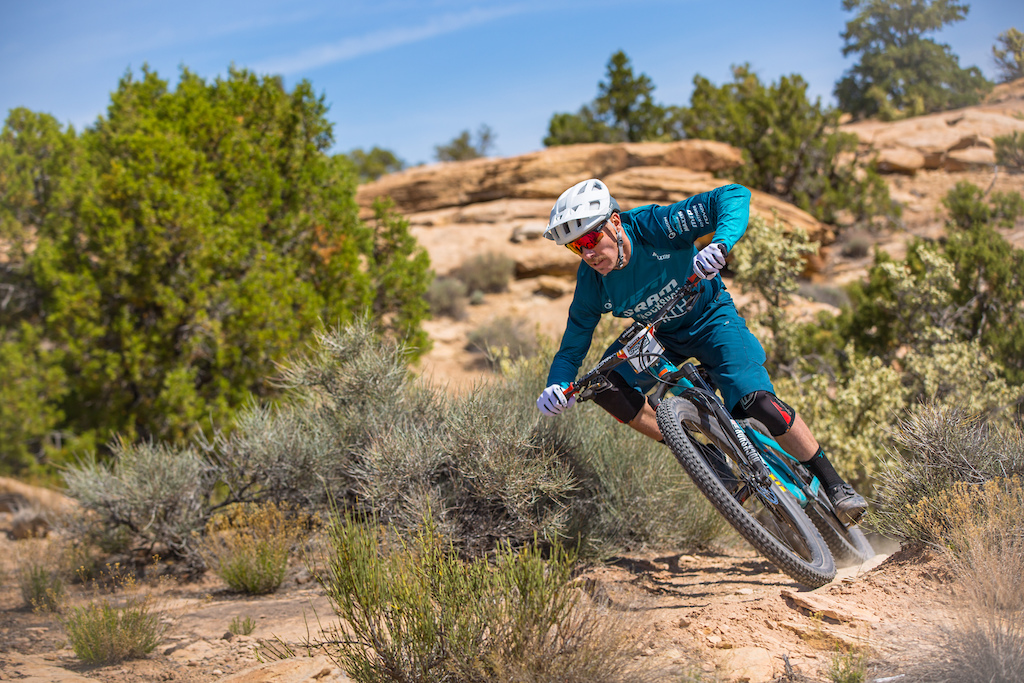 Nate Hills races the Pro division in Round 1 of the 2018 SCOTT Enduro Cup presented by Vittoria in Moab UT on May 5 2018. Photographer Noah Wetzel courtesy of Enduro Cup