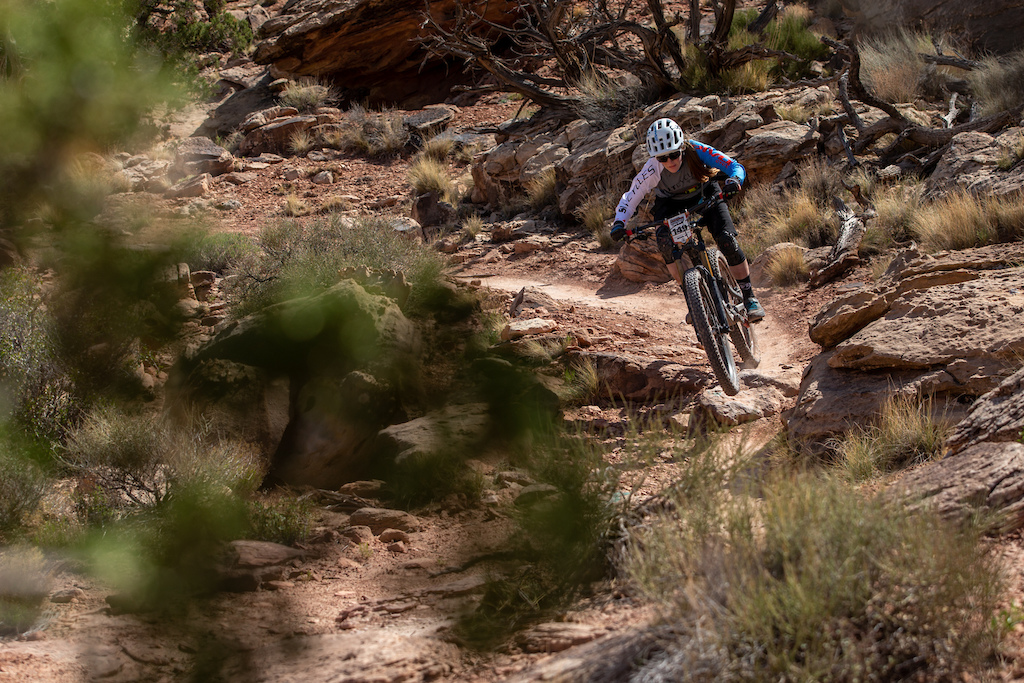 Lia Westermann races the Pro division in Round 1 of the 2018 SCOTT Enduro Cup presented by Vittoria in Moab UT on May 5 2018. Photographer Sean Ryan courtesy of Enduro Cup