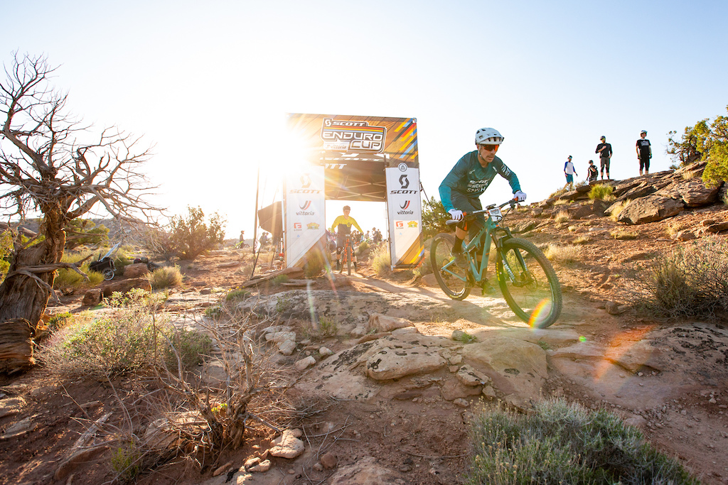 Nate Hills races stage 1 at Round 1 of the 2018 SCOTT Enduro Cup presented by Vittoria in Moab UT on May 5 2018. Photographer Sean Ryan EnduroCupMTB