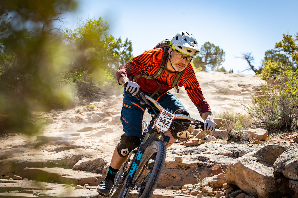 Michael West races stage 3 at Round 1 of the 2018 SCOTT Enduro Cup presented by Vittoria in Moab UT on May 5 2018. Photographer Sean Ryan EnduroCupMTB