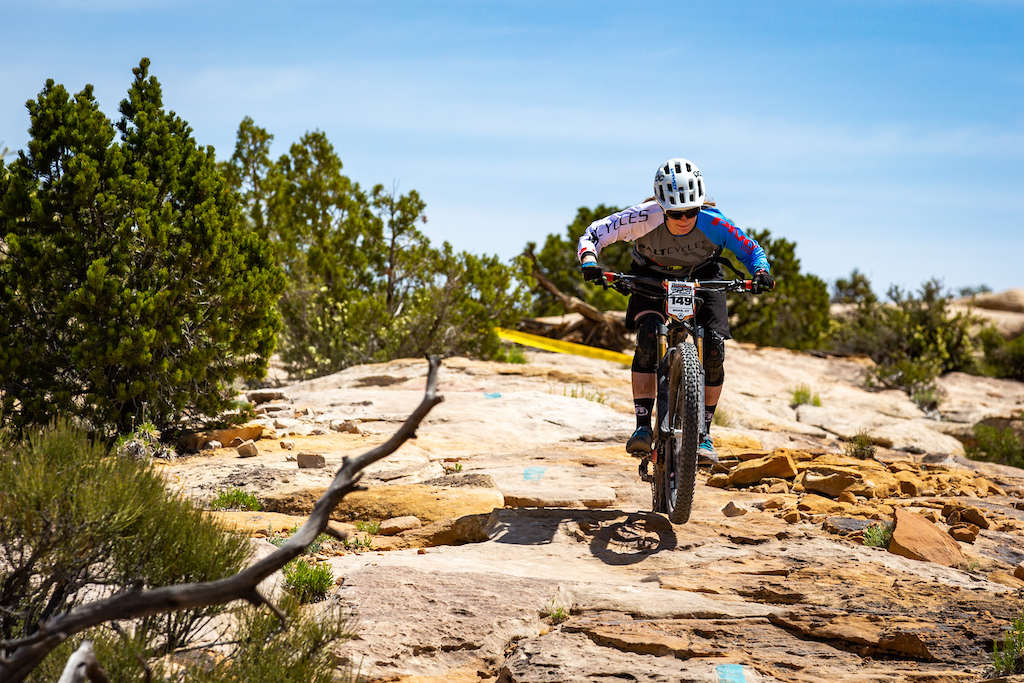Lia Westermann races stage 3 at Round 1 of the 2018 SCOTT Enduro Cup presented by Vittoria in Moab UT on May 5 2018. Photographer Sean Ryan EnduroCupMTB