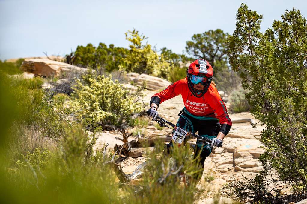 Cooper Ott races stage 3 at Round 1 of the 2018 SCOTT Enduro Cup presented by Vittoria in Moab UT on May 5 2018. Photographer Sean Ryan EnduroCupMTB