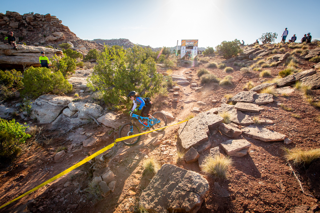 Jackson Howard races stage 1 at Round 1 of the 2018 SCOTT Enduro Cup presented by Vittoria in Moab UT on May 5 2018. Photographer Sean Ryan EnduroCupMTB