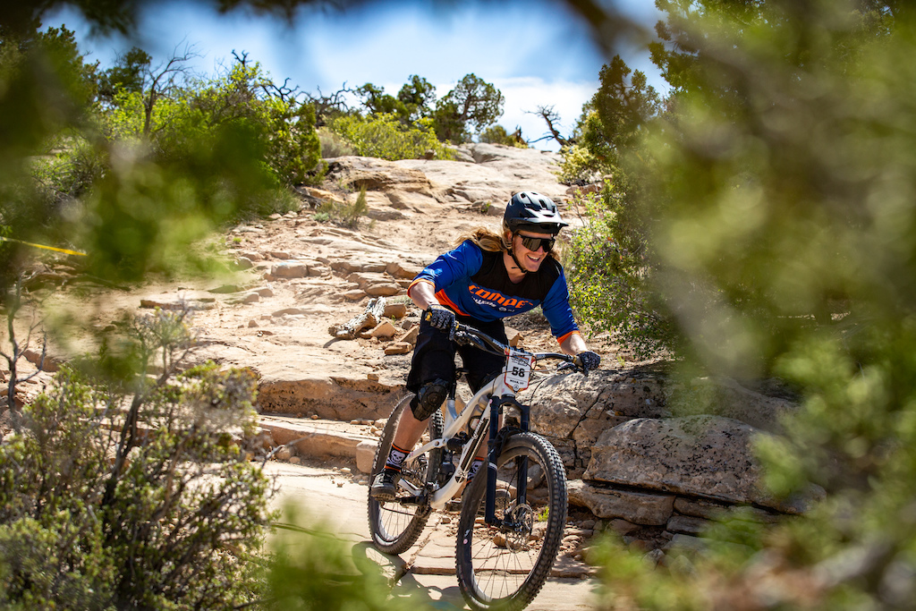 Eric Bodine races stage 3 at Round 1 of the 2018 SCOTT Enduro Cup presented by Vittoria in Moab UT on May 5 2018. Photographer Sean Ryan EnduroCupMTB