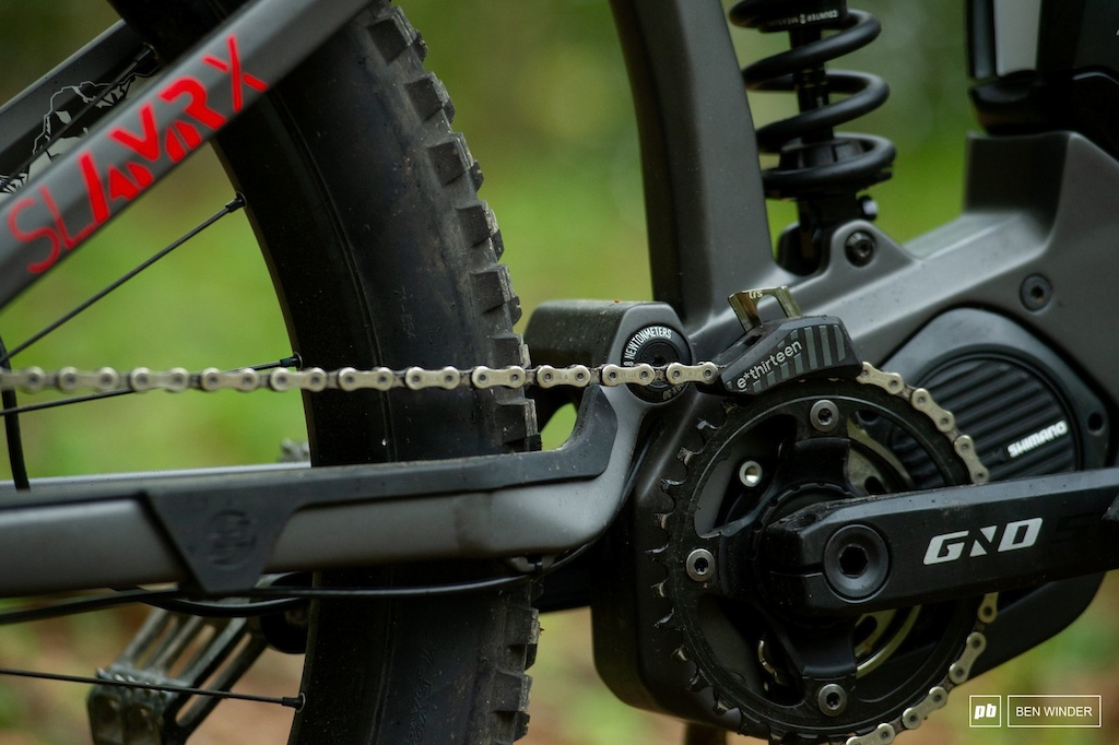 Ghost SL AMR Review - An E13 top guide cheep the chain on and a rubberises guard protects and quietens the chainstay.