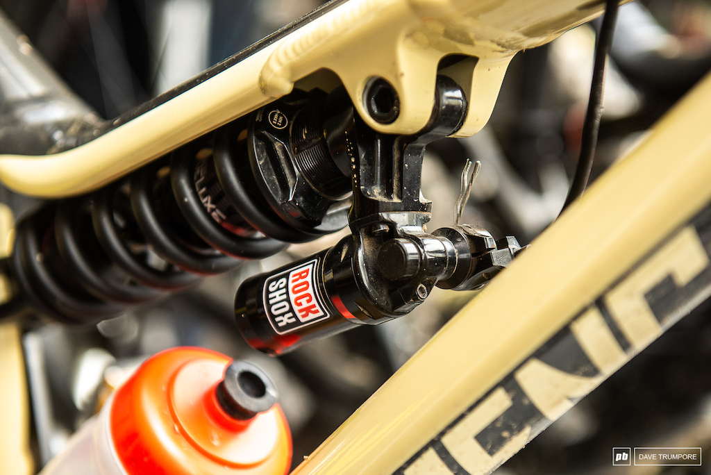 Lockout on Cecile Ravanel's rear shock.  Even though the stages here are long and rough, there are a few with punchy clips and flat sprints were this will come in quite handy.