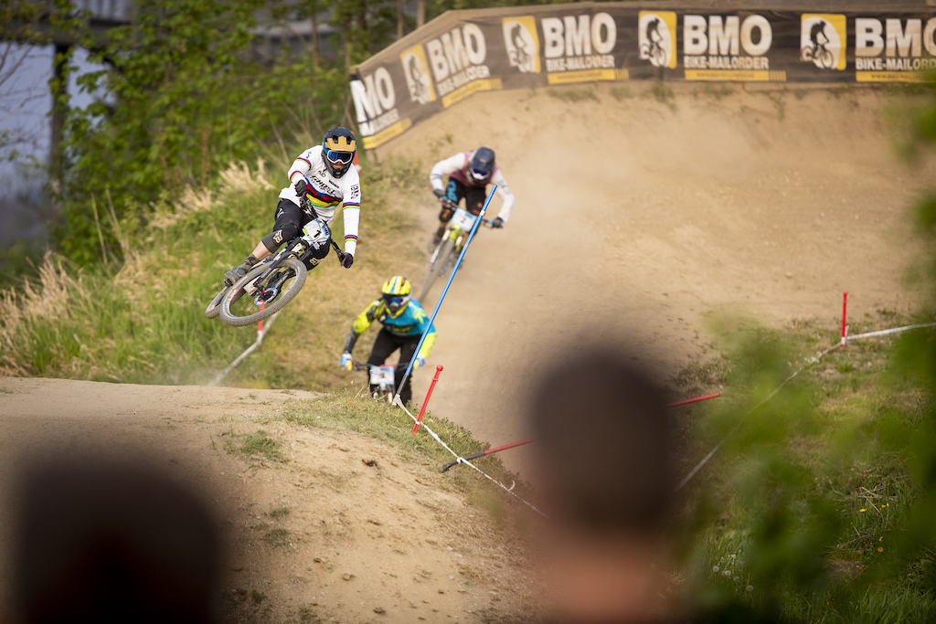 Day 2 practice qualifying and racing during round 1 of the 2018 4X Pro Tour at Winterberg Germany on May 11 2018. Photo Charles A Robertson