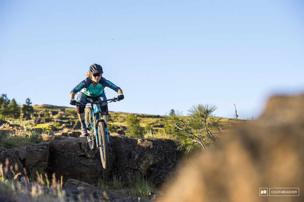 Nikki Rohan testing gear for the Spring 2018 Pinkbike Gear Review on Little Moab above Bingen WA.