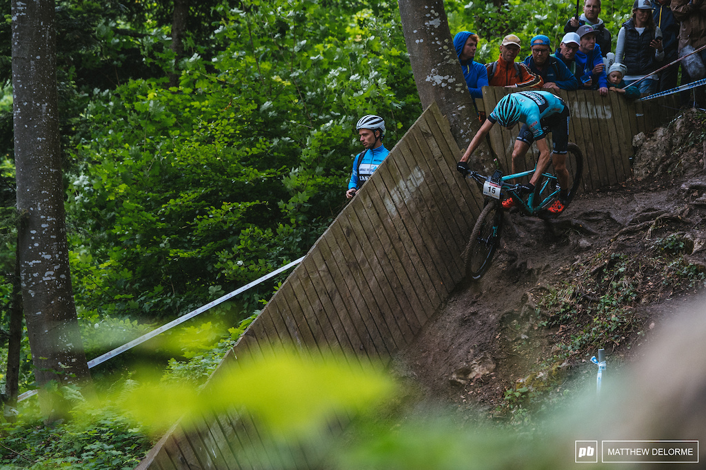 Stephane Tempier had a mega ride today. the muck wasn t slowing him down. He rode to second.