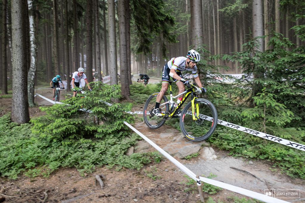 Nino Schurter leads Van der Poel and Tempier.