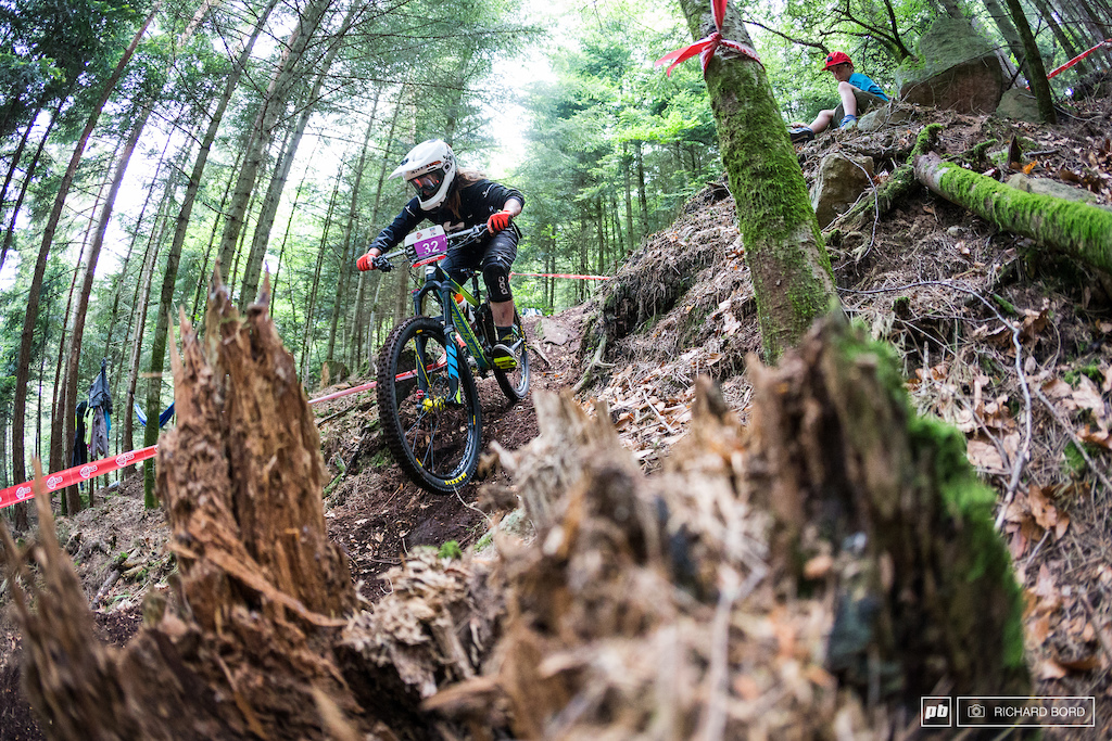 Part time Downhill rider and Enduro rider for 2018 Morgane Charre is not afraid by steep and technical tracks and takes an interesting 2nd place here.