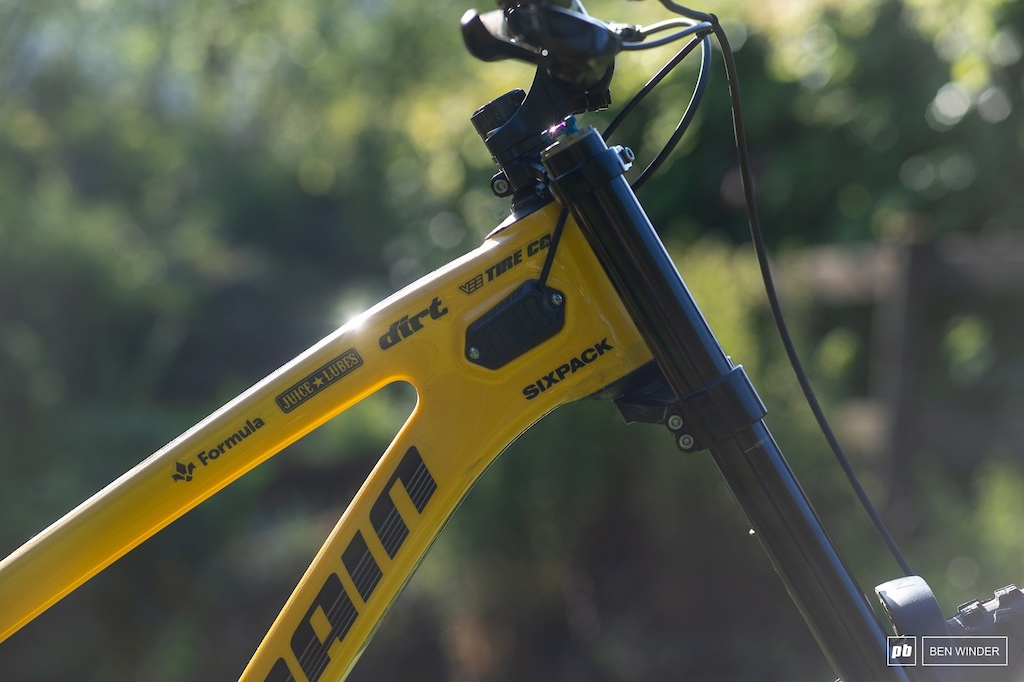 The Rage has built-in fork bumpers that double as inlet ports for the internal cable routing.