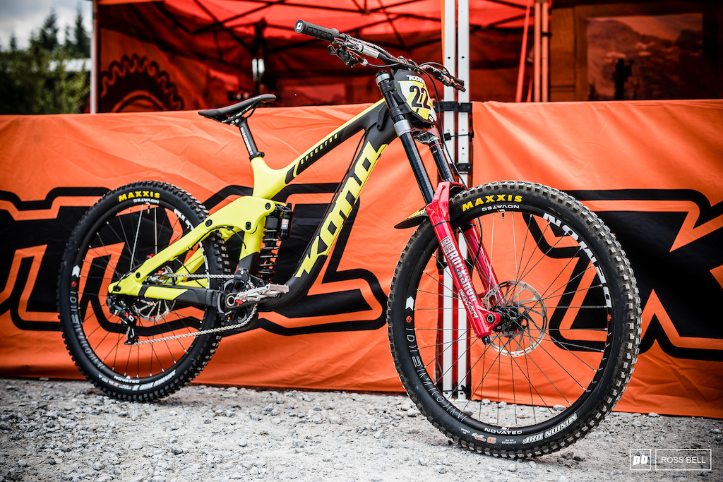 Connor Fearon s black and yellow Operator he ll try 29 and 27.5 wheels before deciding what to race on.