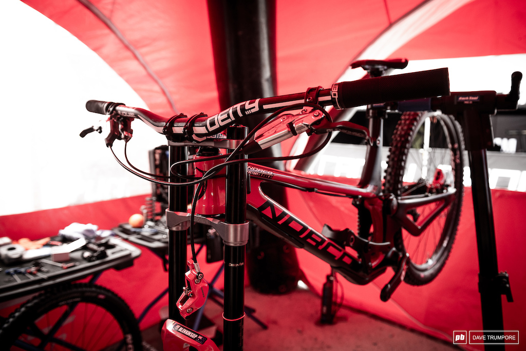 Sam Blenkinsop s Norco in the stand and waiting on some rear shock work to be completed.