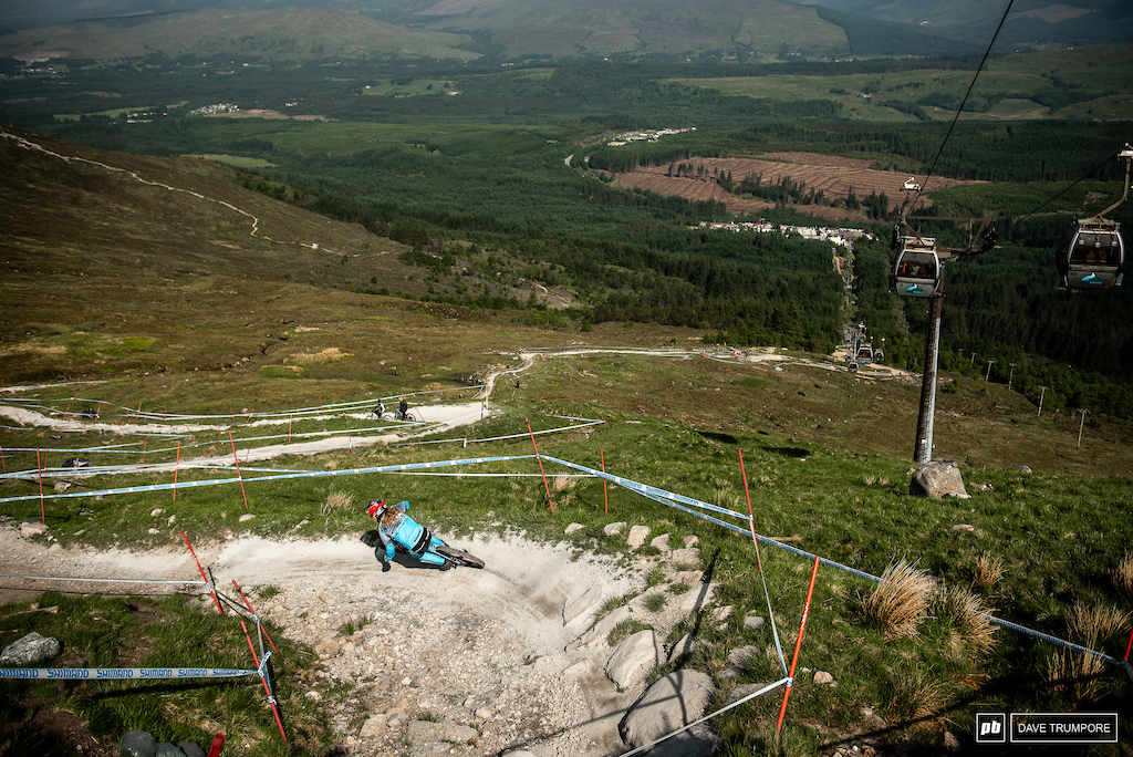 Rachel Atherton makes her way down the never ending ribbon of granite en route to the fastest time of the day in qualifying.