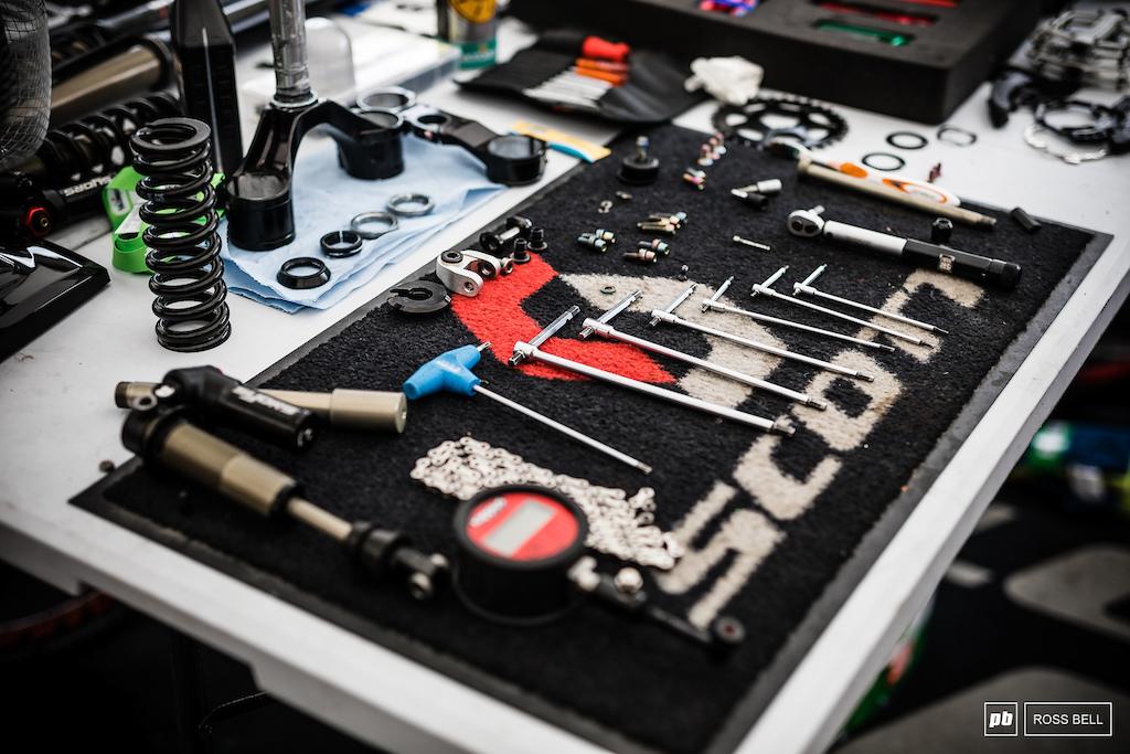 The satisfyingly tidy work space of Gavin Black mechanic for Brendan Fairclough.